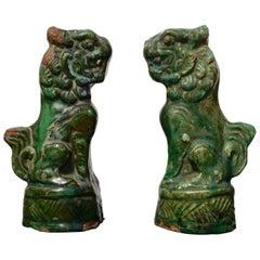 Late Ming Terracotta Sancai Green Glazed Foo Dogs