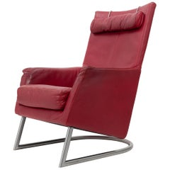 Red Leather Madonna Lounge Chair Gerard van der Berg