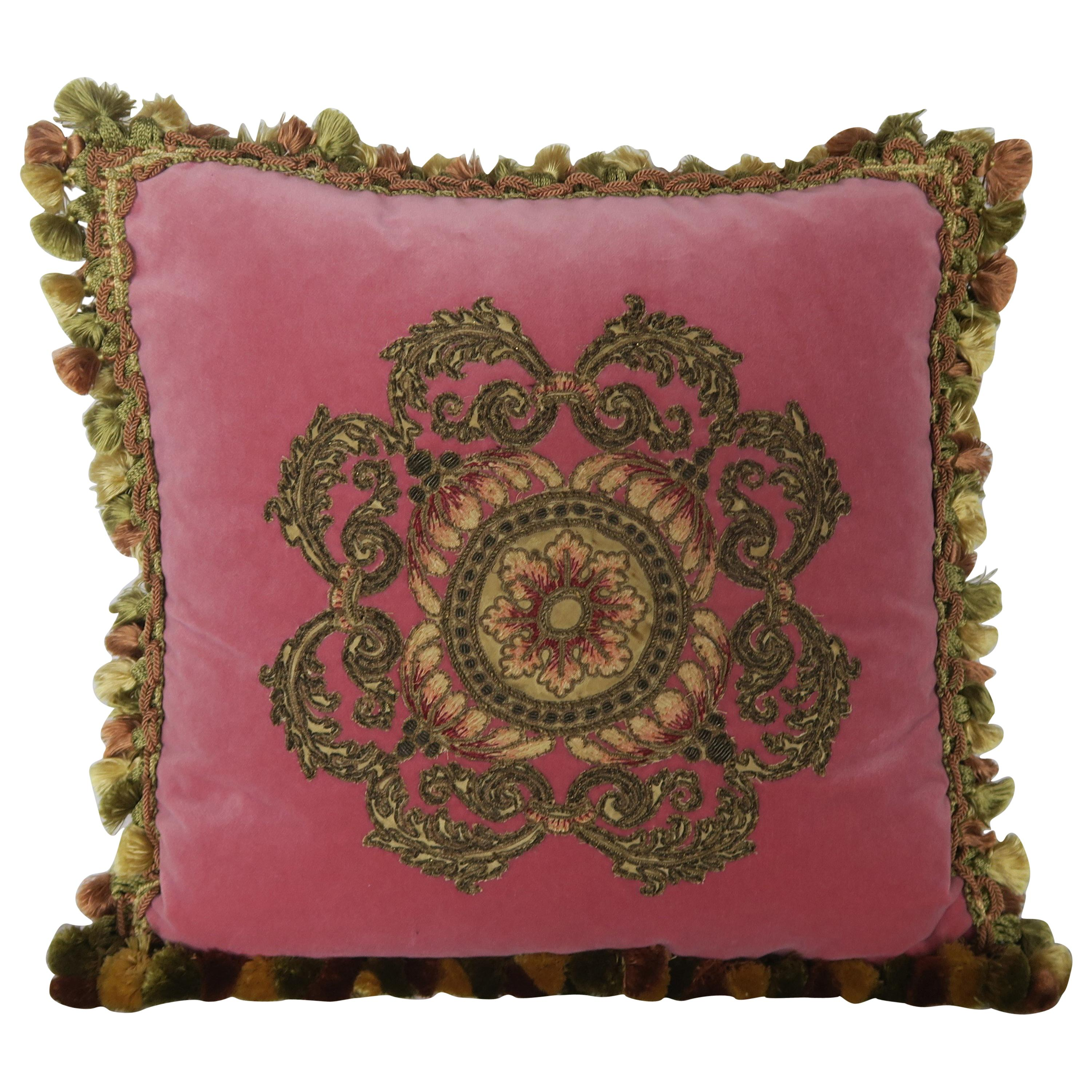 Metallic Appliqued Pink Velvet Pillow with Tassels by Melissa Levinson