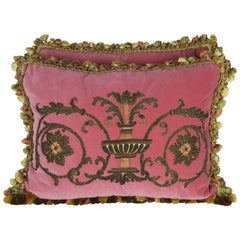 Pair of 19th Century French Appliqued Pink Velvet Pillows by Melissa Levinson