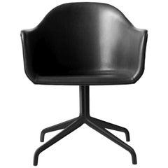 """Harbour Chair, Swivel Base in Black Steel, Nevotex """"Dakar"""" 'Black'"""