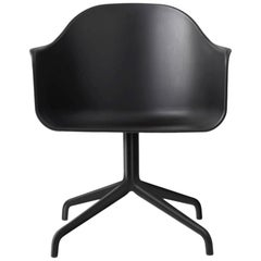 Harbour Chair, Swivel Base in Black Steel, Black Shell