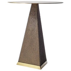 Armor Triangle Side Table in Satin Brass and Oil-Rubbed Bronze