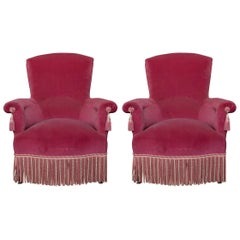 Pair of 19th Century Napoleon III Armchairs with Contrasting Bullion Fringe