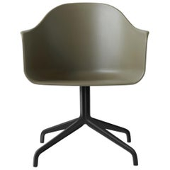 Harbour Chair, Swivel Base in Black Steel, Olive Shell