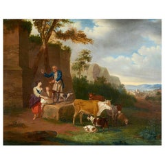 Paesaggio 18th Century Oil on Canvas Schaetzell Signed 1783 Landscape Painting