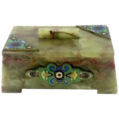 Art Deco Jade / Onyx Enameled Casket Box, circa 1930s
