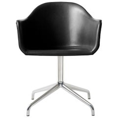 "Harbour Chair, Swivel Base in Polished Aluminum, Nevotex ""Dakar"" 'Black'"
