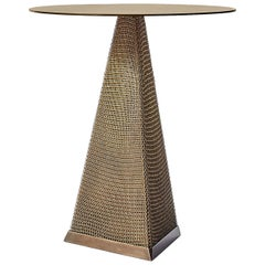 Armor Triangle Side Table in Antique Brass