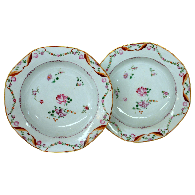 "Pair of Antique English Late 18th Century ""Lowestoft"" Porcelain Soup Plates"