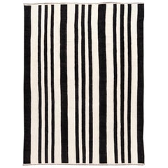 Contemporary Striped Kilim Flatweave Wool Rug