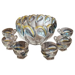Art Deco Floral Punch Bowl and 6 Matching Glasses