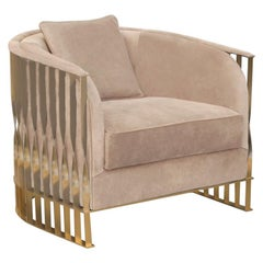 Koket Mandy Chair with Beige Velvet Seat and Brass Frame