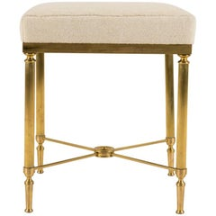 Jansen Style Vintage Neoclassical Brass Tabouret