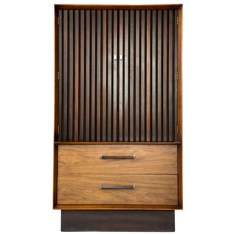 Rosewood and Walnut Gentleman's Wardrobe Dresser by Lane, circa 1965 For Sale