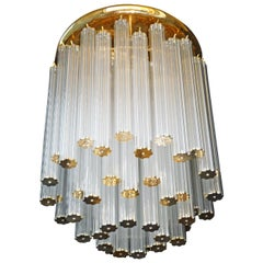 Luxury Rare Italian Modernist with 448 Glass Straw Tubes & Gilt Brass Chandelier