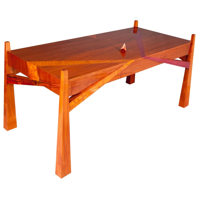 Colorful Modernists Art  Inspired Sculptural Mahogany Desk with Secret Drawers For Sale
