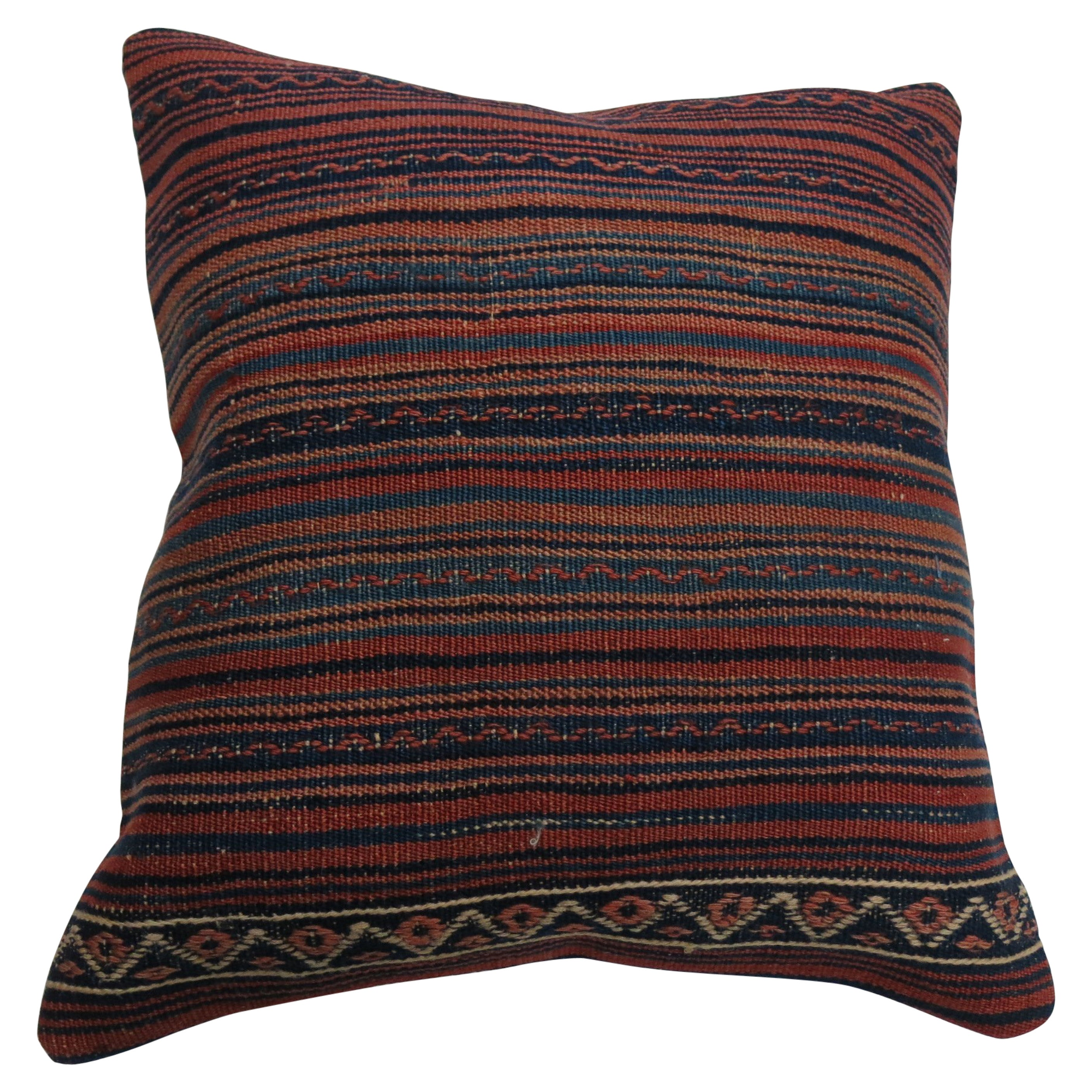 Large Striped Vintage Kilim Pillow