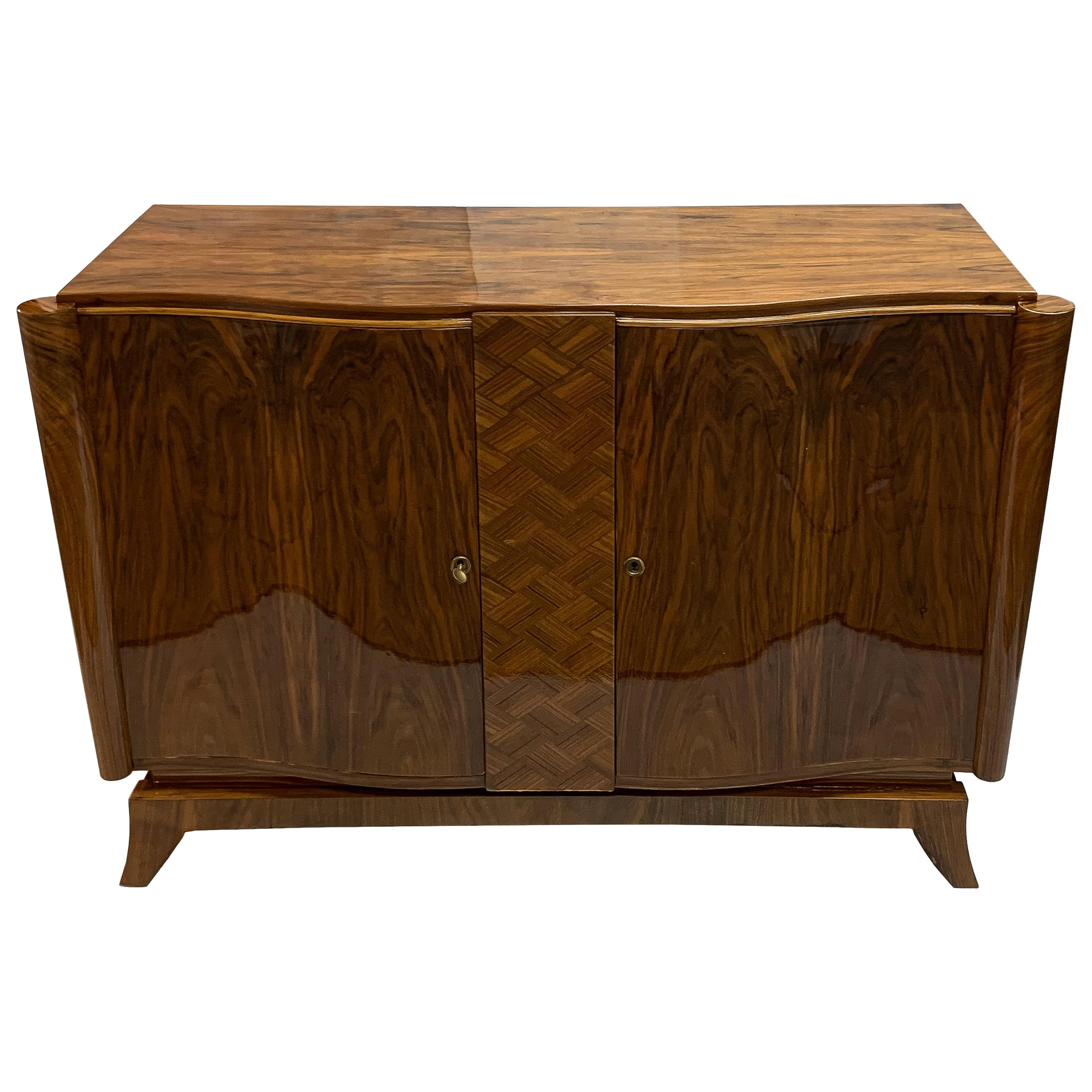 Luxe French Art Deco Walnut Buffet or Credenza