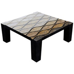 """Tessellated Stone """"Curves"""" Cocktail Table with Abstract Inlaid Detailing, 1990s"""