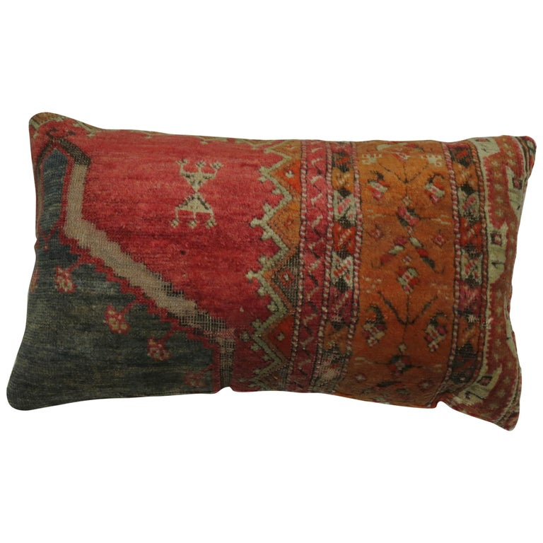Bolster Turkish Angora Oushak Rug Pillow For Sale