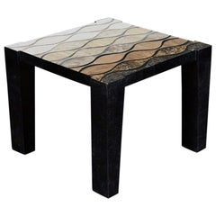 """Tessellated Stone """"Curves"""" Side Table with Abstract Inlaid Detailing, 1990s"""