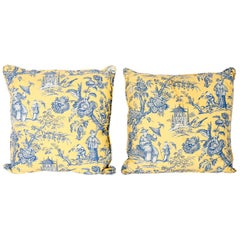 French Toile Style Linen Pillows