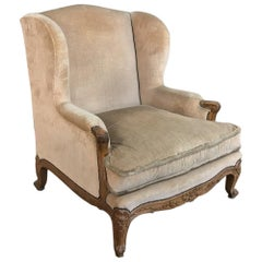 Antique French Walnut Louis XV Wingback Armchair