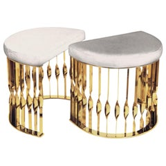 Mandy I Stool in Polished Brass