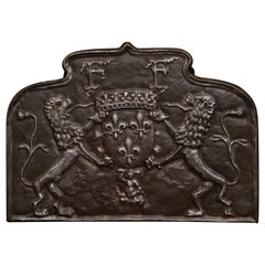 18th Century French Iron Fireback with Coat of Arms and Fleurs-de-Lys
