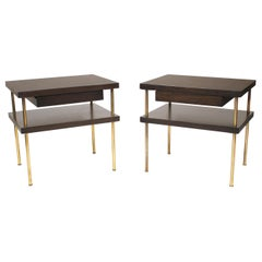 1950s Harvey Probber Night Stands or End Tables in Mahogany with Brass Legs
