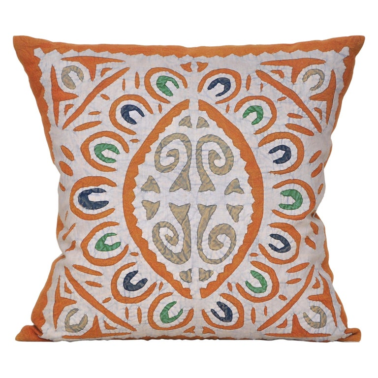 Vintage Indian Blue and Green Patchwork Pillow with Irish Linen Cushion For Sale