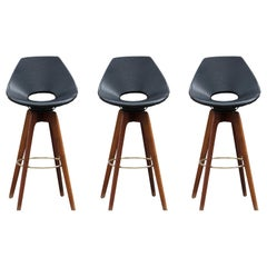 Three Modern Black Swivel Bar Stools in the Style of Erick Buck