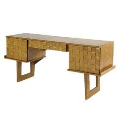 "Paul Laszlo Bleached Oak ""Basket Weave"" Desk for Brown Saltman"