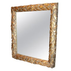 French Gilt Laurel and Ribbon Decorated Mirror