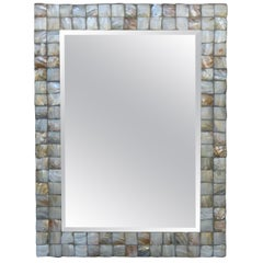 Mother-of-Pearl Beveled Rectangular Framed Mirror