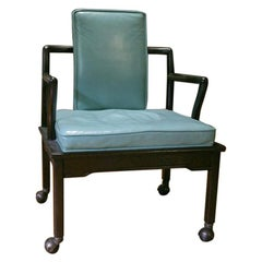 Turquoise Leather Club Chair by Widdicomb