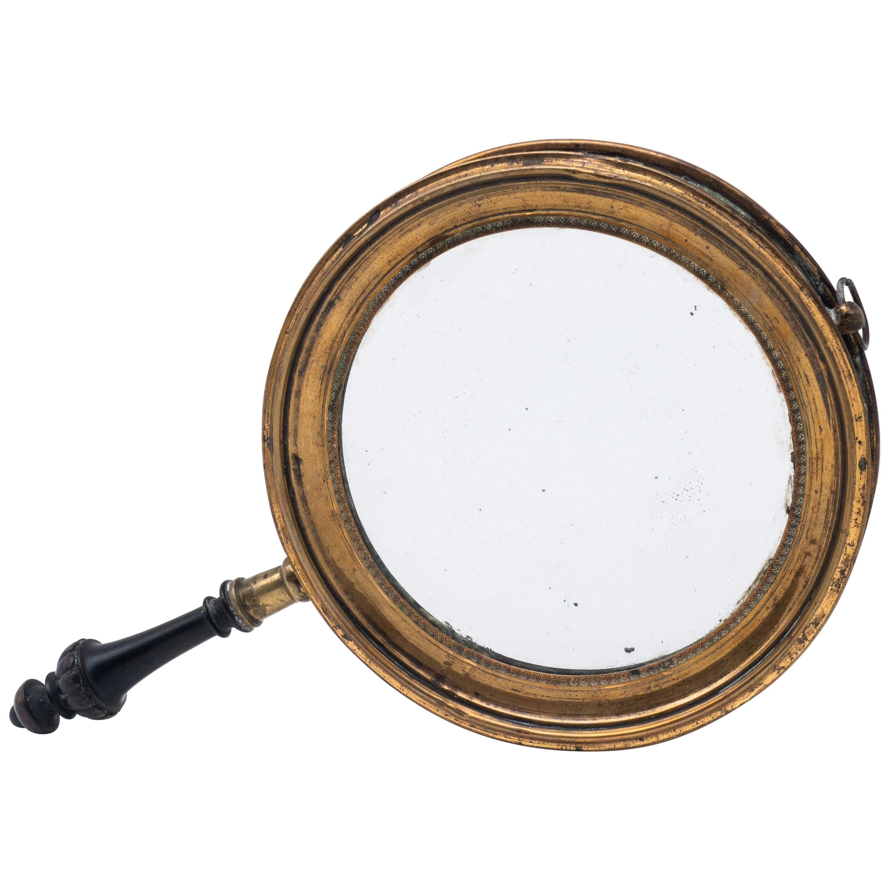 Antique Concave Brass and Carved Wood Hand Mirror, 19th Century
