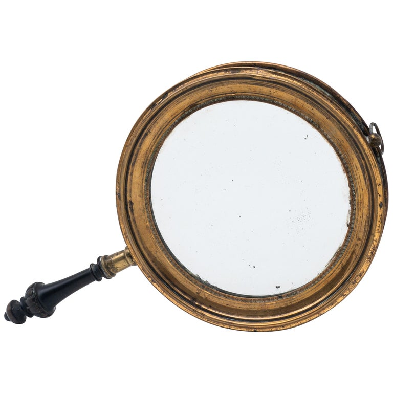 Antique Concave Brass and Carved Wood Hand Mirror, 19th Century For Sale