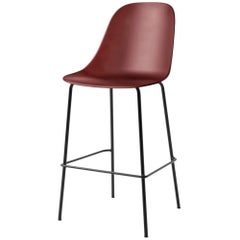 Harbour Side Bar Chair, Base in Black Steel, Burning Red Shell