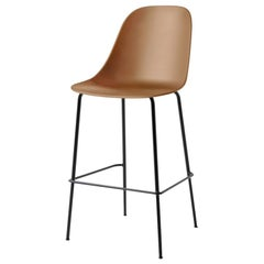 Harbour Side Bar Chair, Base in Black Steel, Khaki Shell