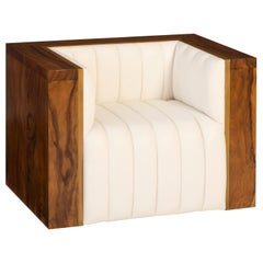 Heirloom Club Chair in Solid Natural Finished Walnut, Brass and White Leather