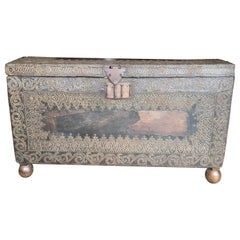 Incredible Very Old Spanish Trunk Encrusted with Brass Decorative Tacks