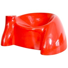 Postmodern Wendell Castle Red Fiberglass Castle Lounge Chair