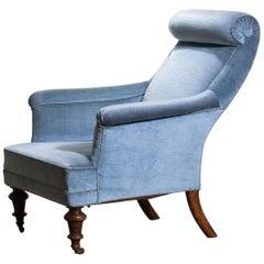 1900s, Ice Blue Velvet Dorothy Draper Style Bergère / Lounge Chair