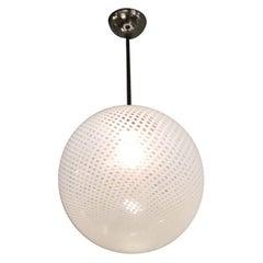 """Venini Chandelier """"FILIGRANA"""" Murano Glass Crome Italia, 1930"""
