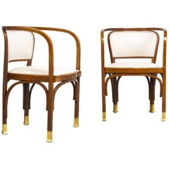 Antique Vienna Secessionist Gustav Siegel 715 for Kohn Bentwood Armchairs