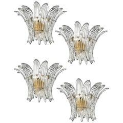 Four Italian Palmette Sconces Barovier & Toso Style, Murano