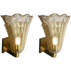 Fabulous Pair of Sconces 24-Karat Gold by Barovier and Toso, Murano, 1950s
