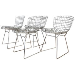 Four Bertoia Chrome Side Chairs for Knoll